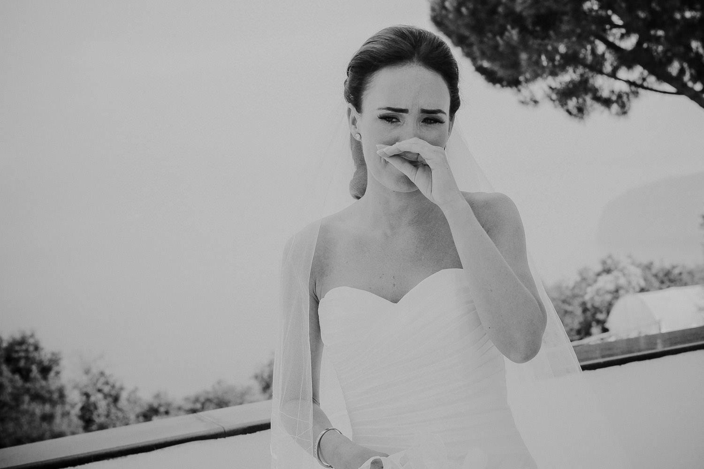 Emotional bride Bride on wedding day Positano, Amalfi Coast