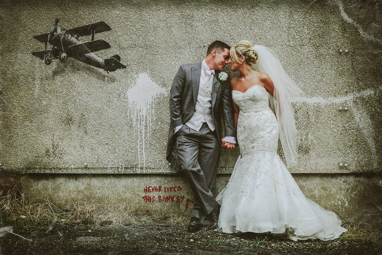 Creative Wedding Portrait - Bride and Groom portrait Banksy Wall art Liverpool