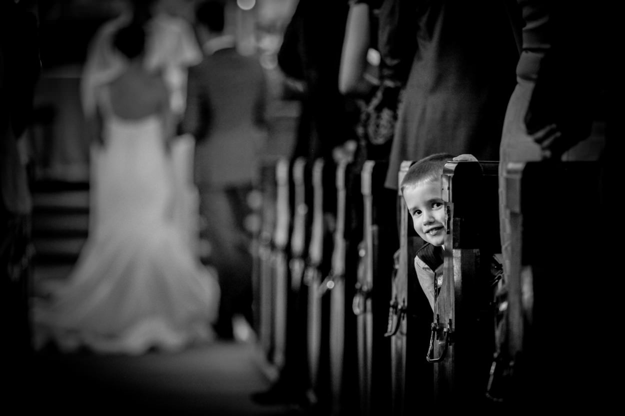 Wedding ceremony, little boy peeping, Poulton-le-fylde