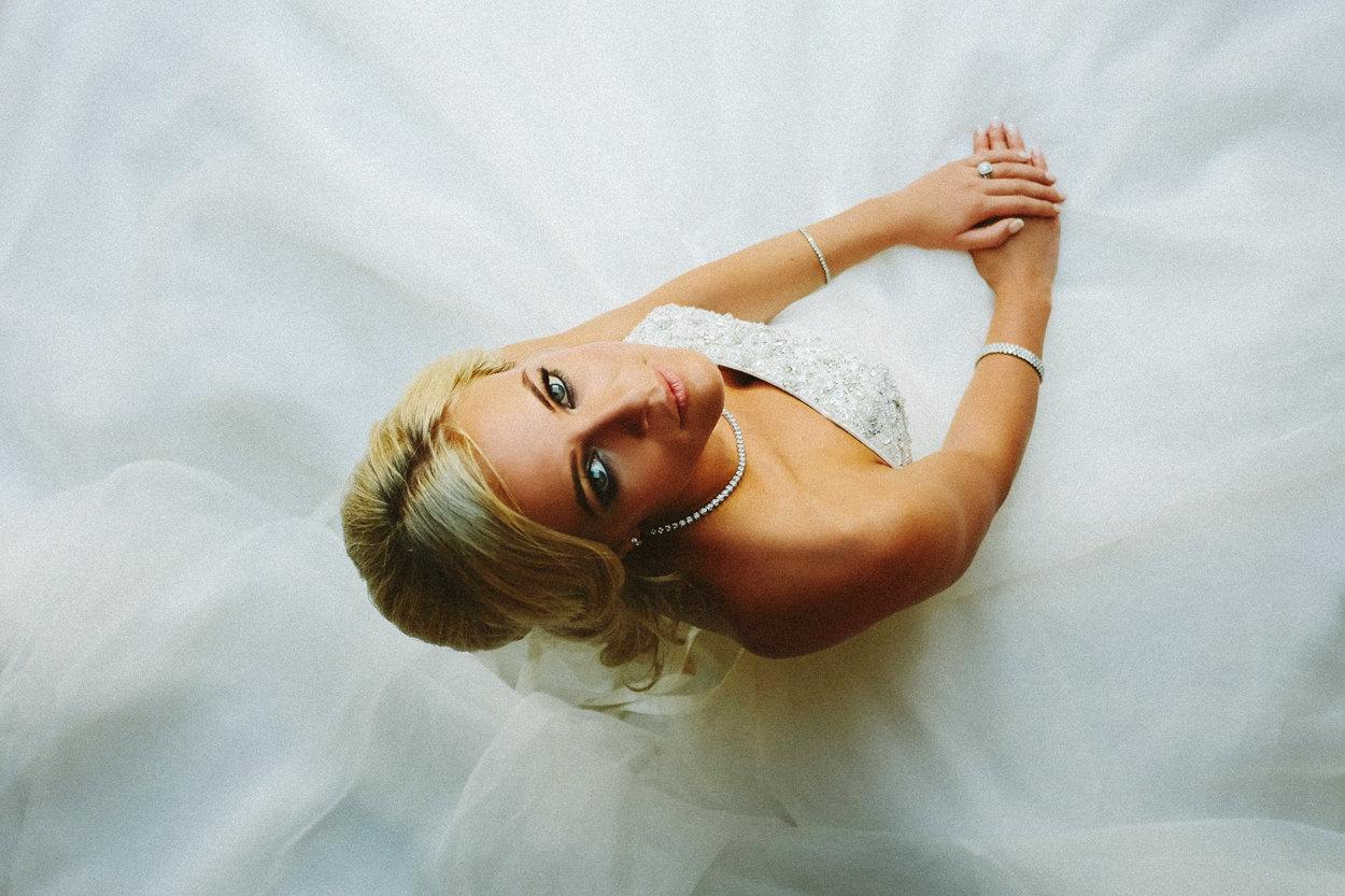 Beautiful celebrity wedding portrait of bride by wedding photographer Wes Simpson