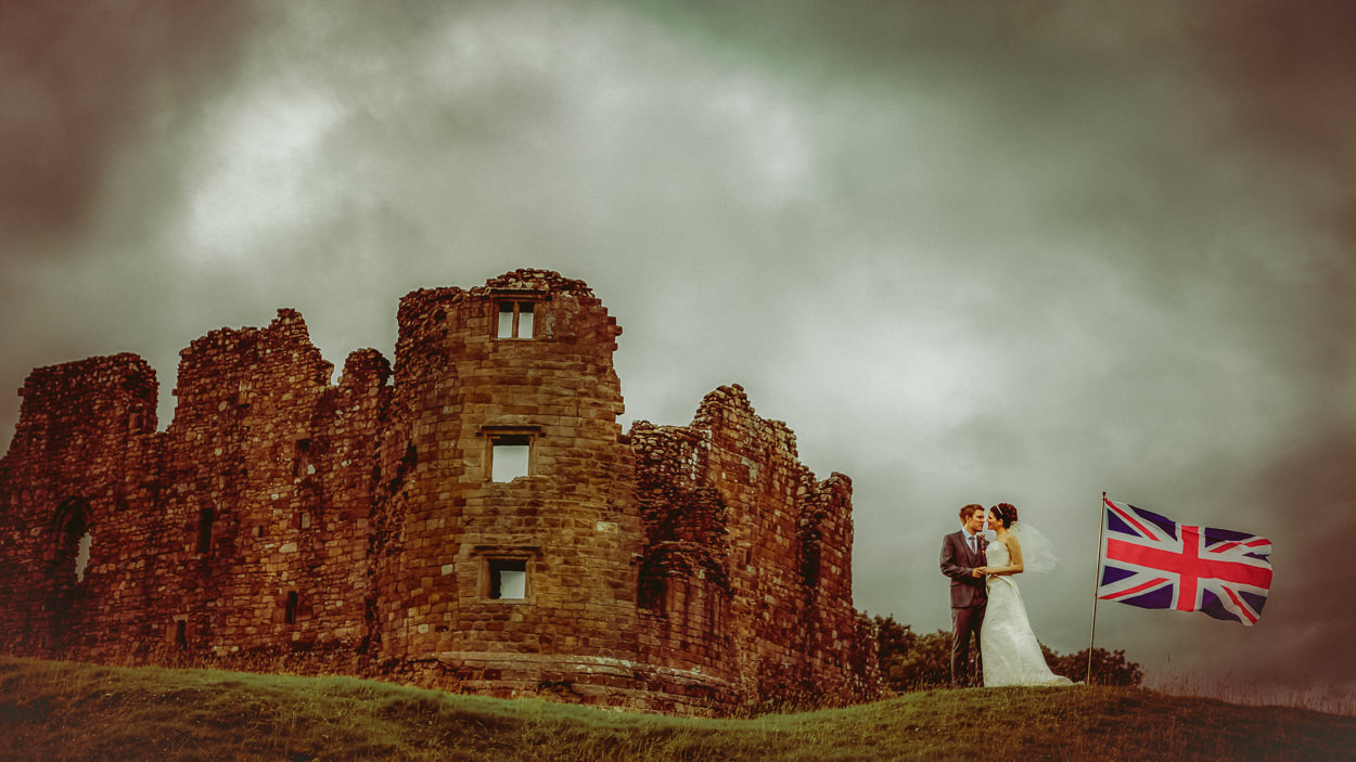 Creative wedding Portrait Lake District Castle wedding photography