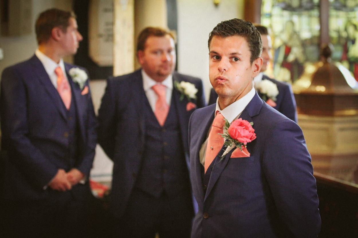 Nervous groom at wedding in Lancashire
