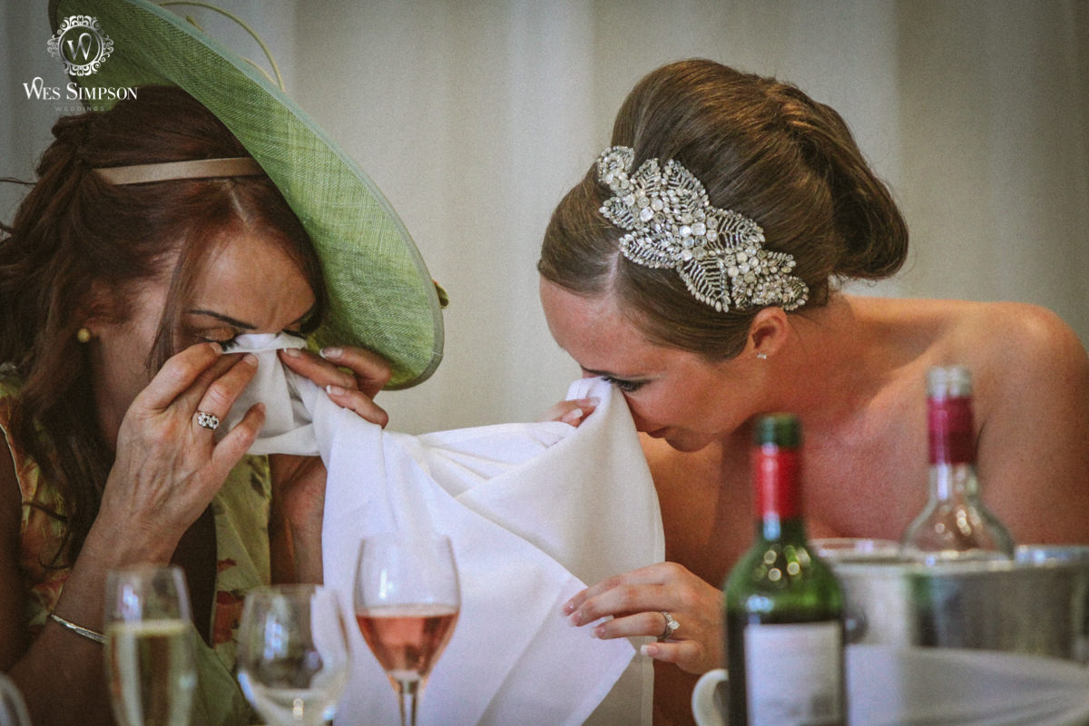 Mother, daughter, crying, wedding, Thorton Hall, Cheshire, wedding photographer, wes simpson