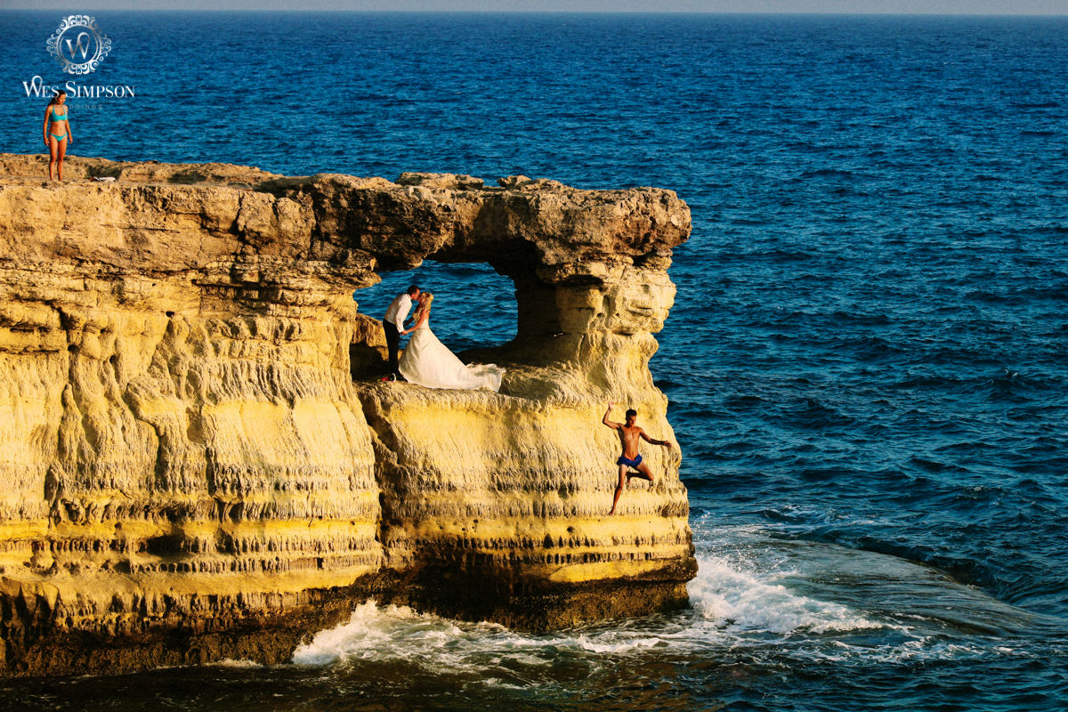 Cliff diving, wedding, Cape Grecco, Gyprus, photographer