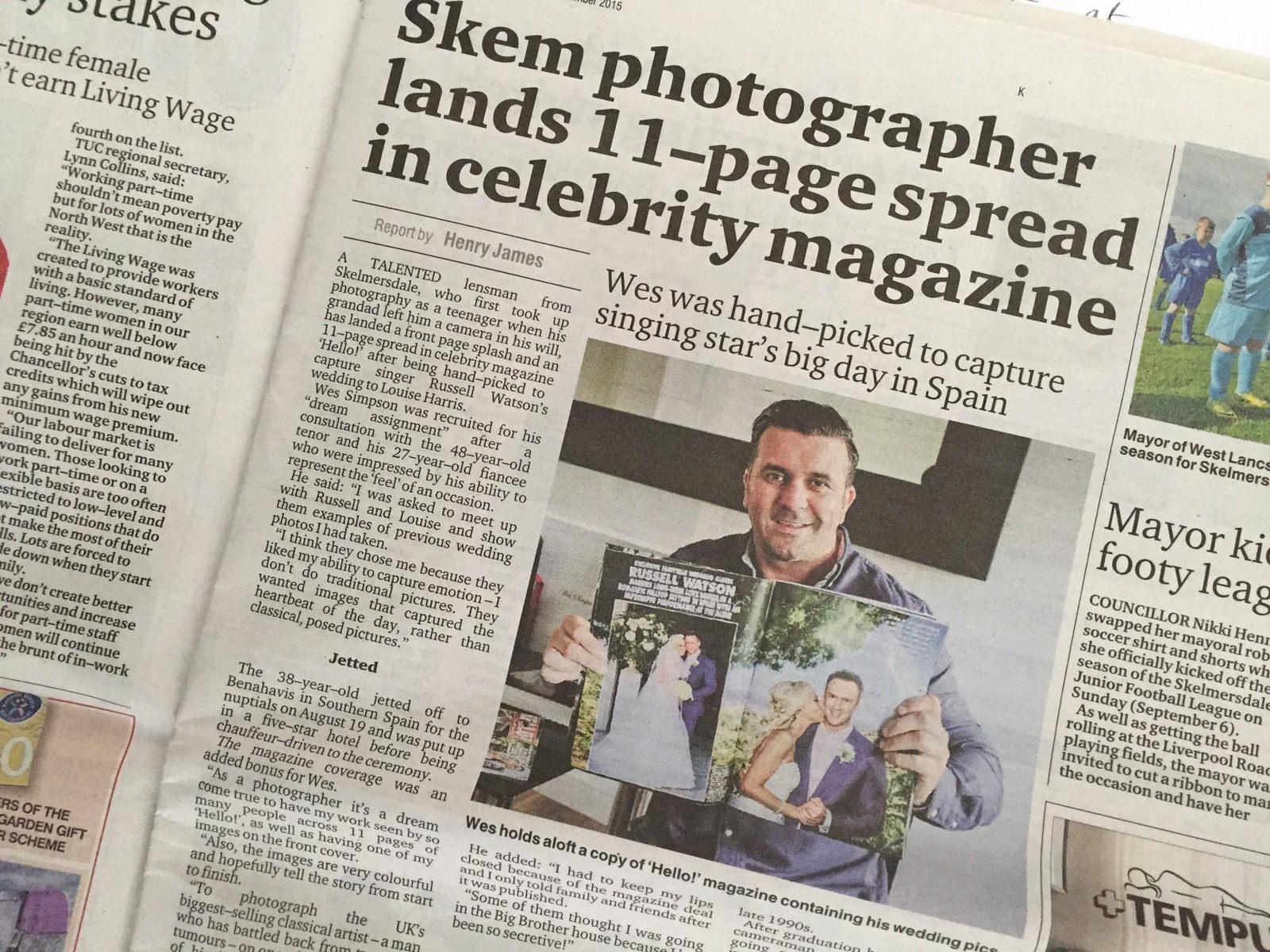 Celebrity wedding photographer Cheshire and Lancashire. Skelmersdale Champion news