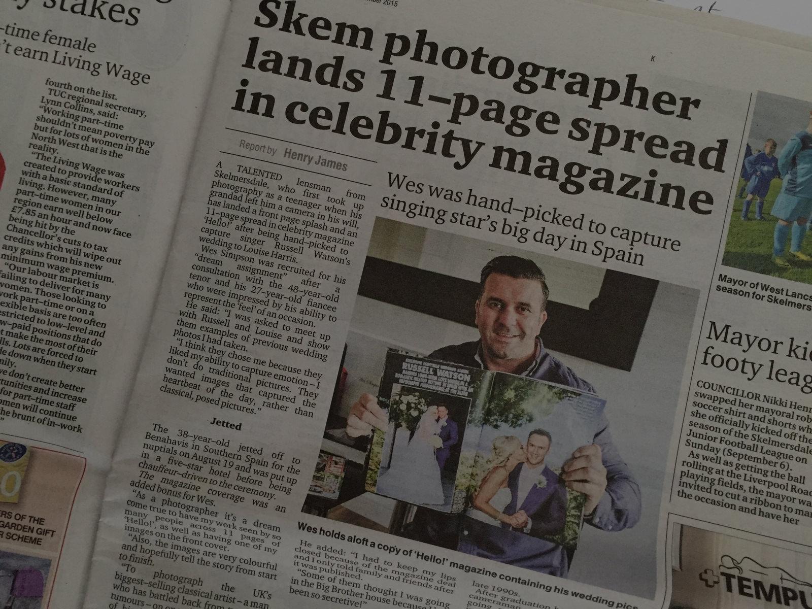 Lancashire photographer photographs celebrity wedding Skelmersdale Champion