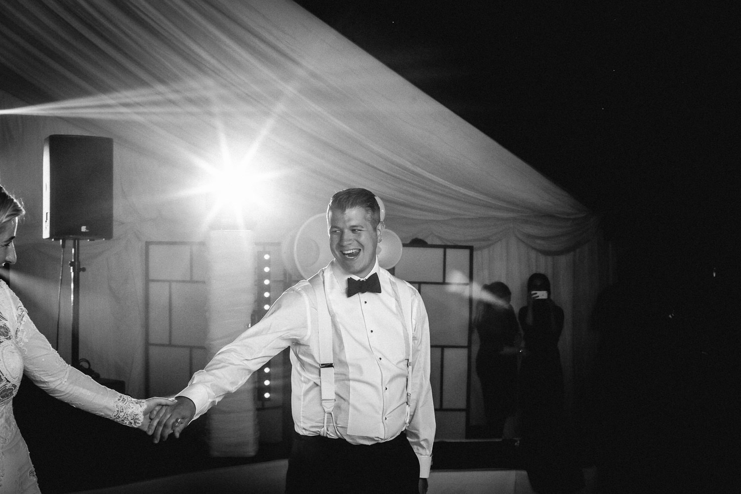 First dance in marquee Lancashire wedding Wrea Green