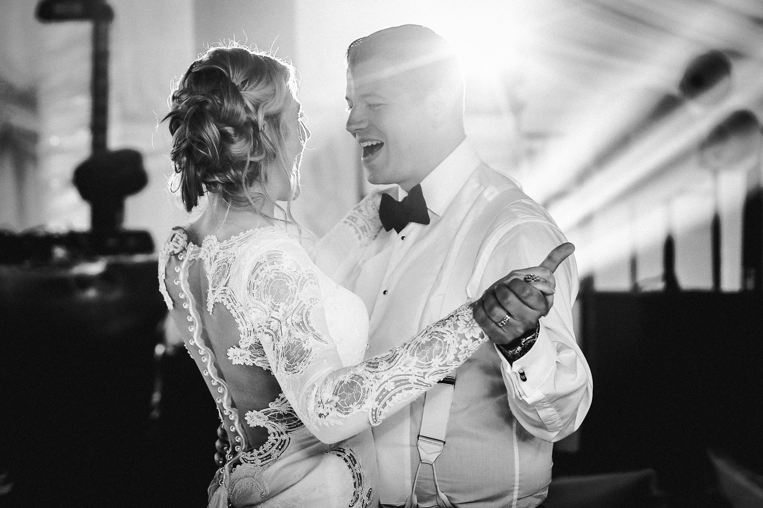 Black and white photography First dance in marquee Lancashire wedding Wrea Green