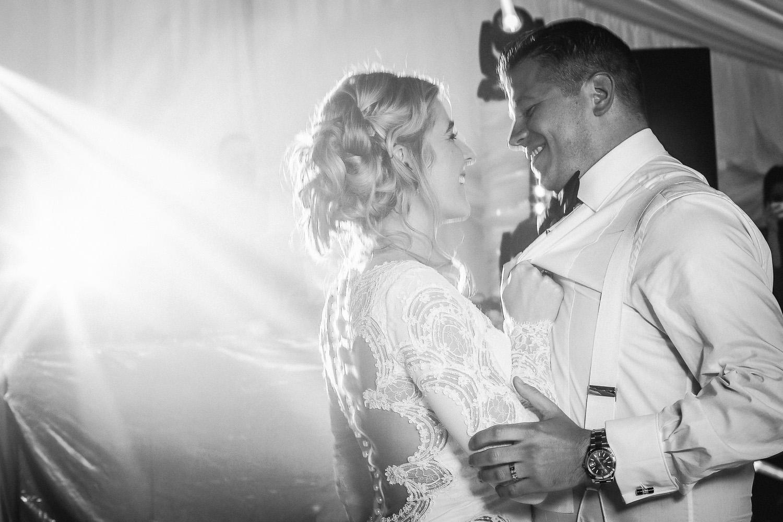 First dance in marquee Lancashire wedding Wrea Green