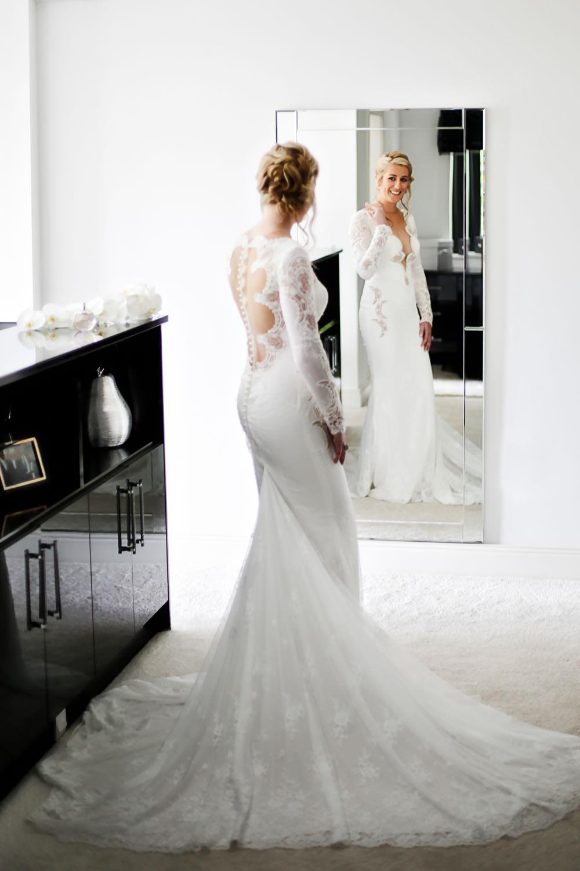 Lancashire wedding Wrea Green bride in Berta wedding dress
