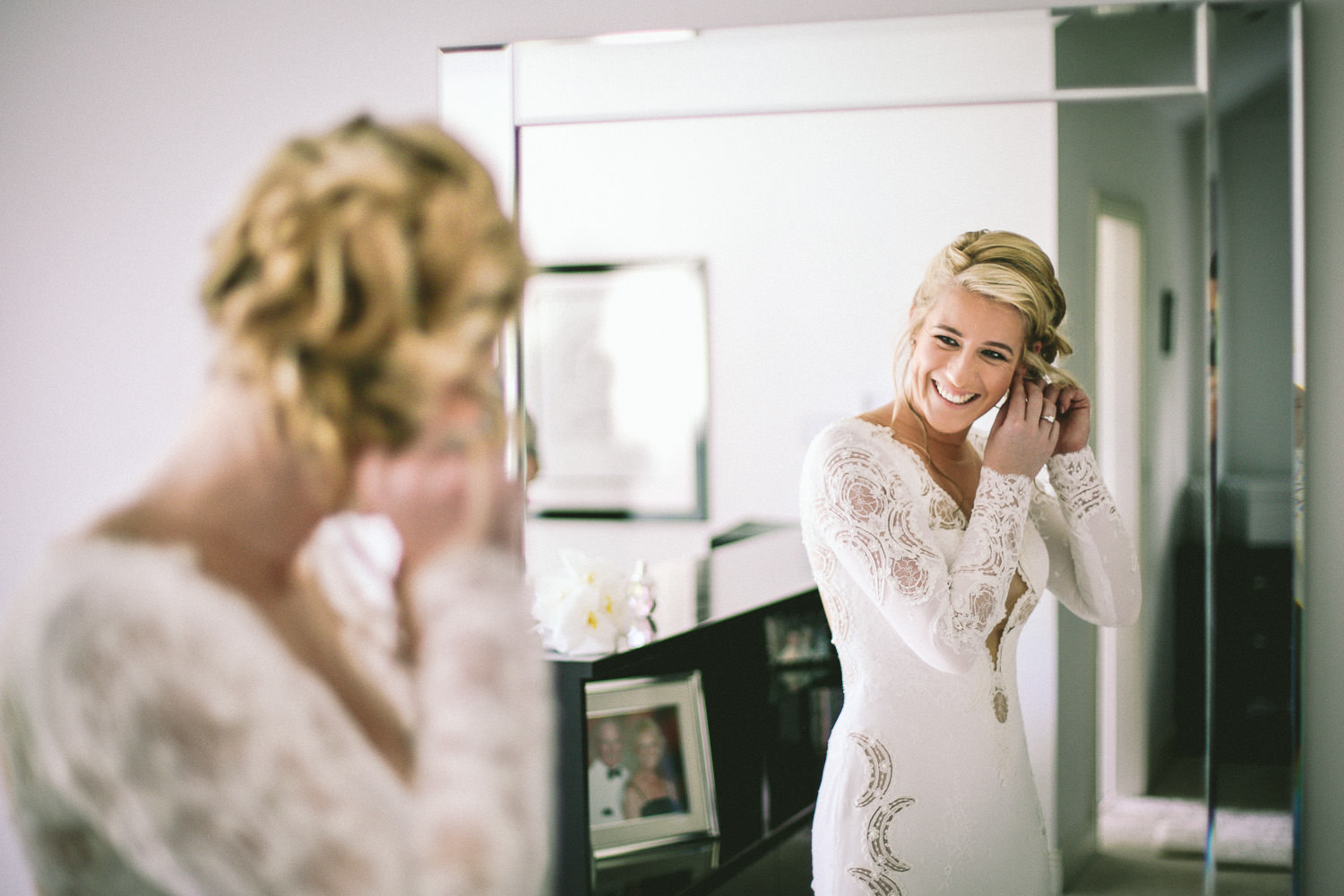 Lancashire wedding Wrea Green bride getting ready in Berta wedding dress
