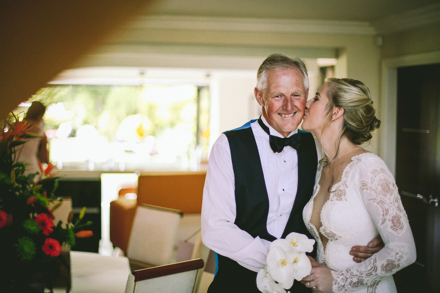 bridal reveal emotional father seeing daughter in Berta wedding gown