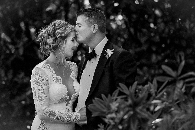 Black and white wedding photo bride in Berta wedding dress Lancashire wedding Wrea Green