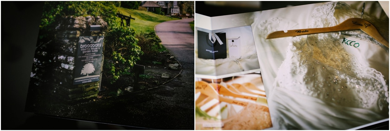 Inside pages of storybook wedding album from Broadoaks wedding venue Lake District