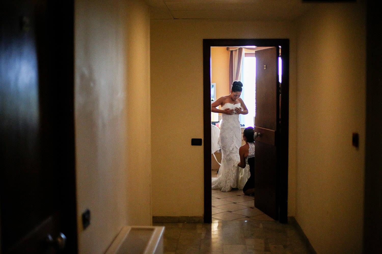 Bride getting ready Pronovias wedding dress in Sorrento Amalfi Coast