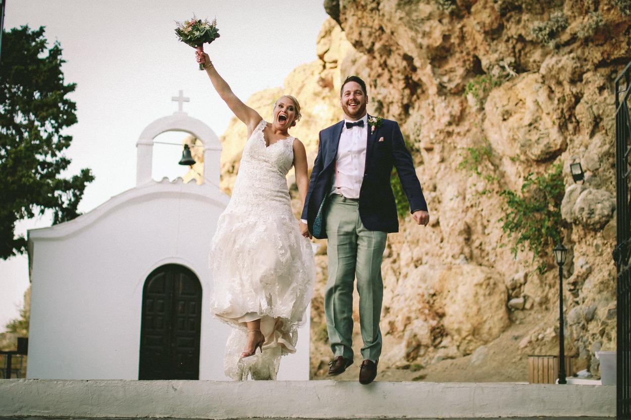 bride and groom church greece