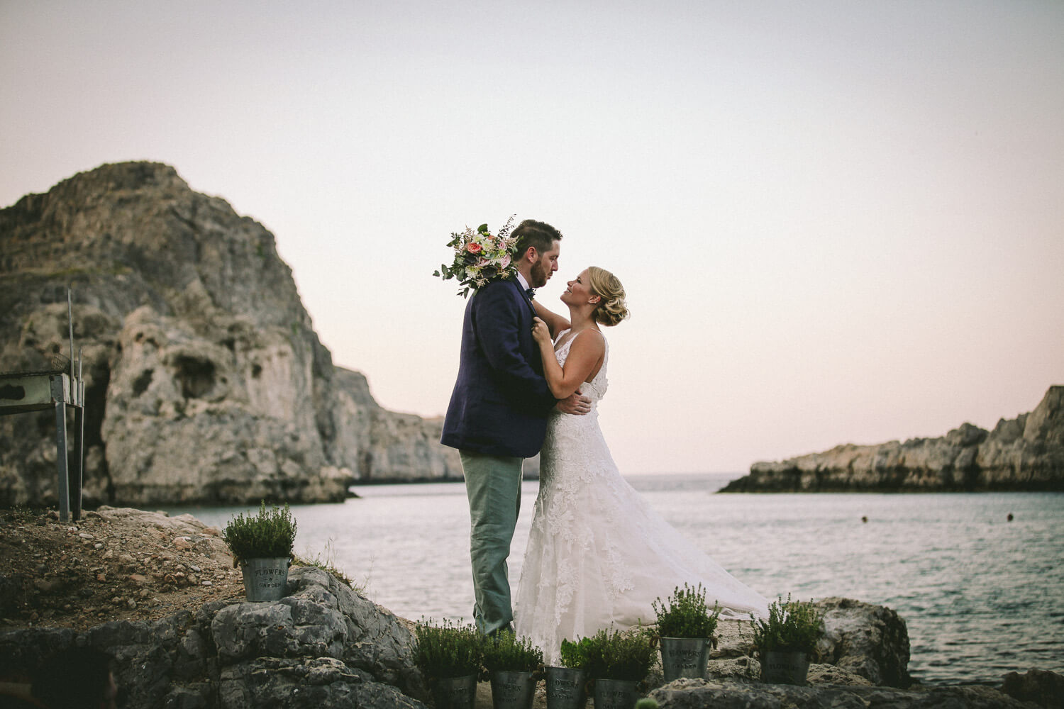 Sunset wedding pictures St Paul's Bay Lindos. Weedy g In Rhodes Greece