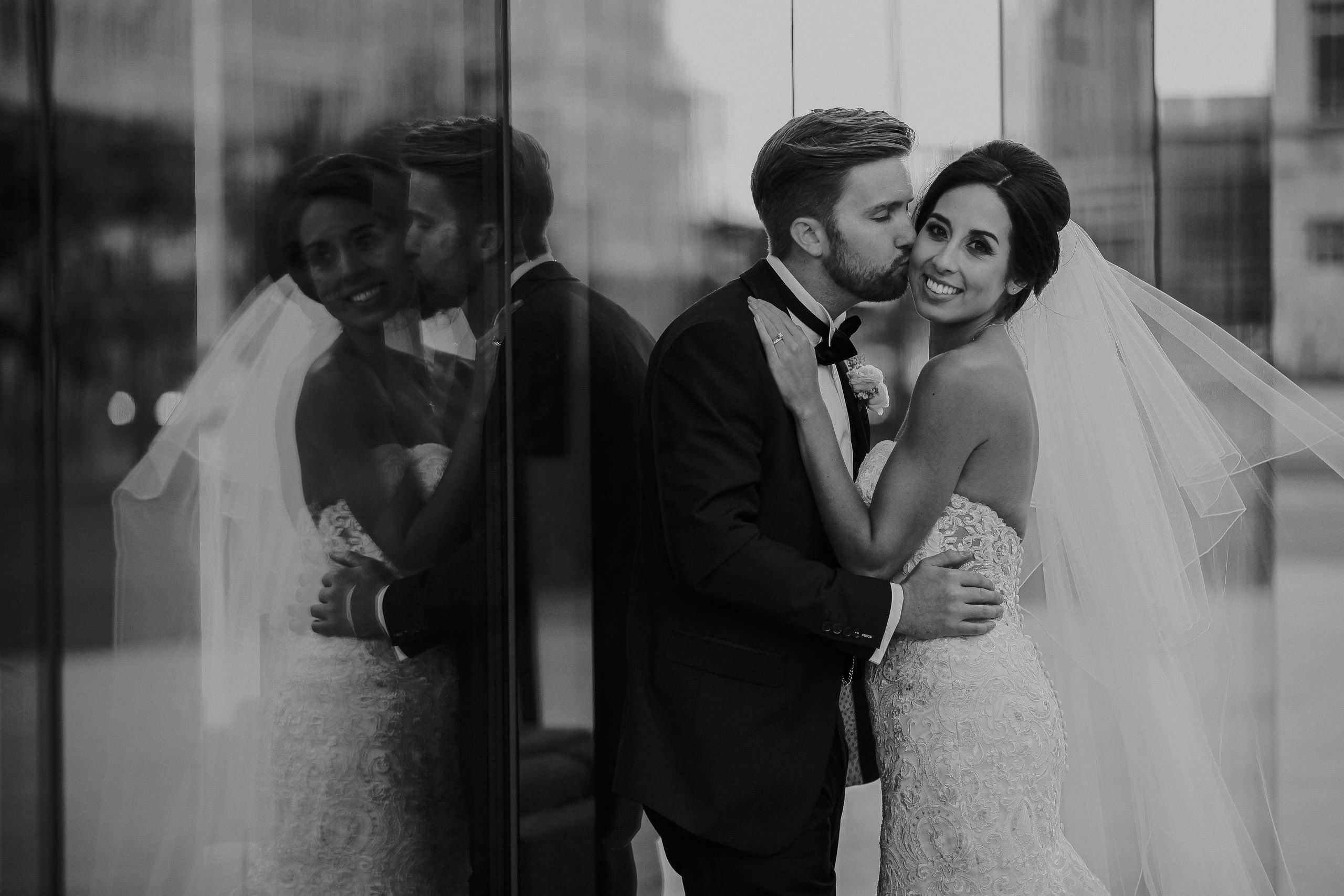 Wedding photographer Liverpool showreel. Black and white photo bride and groom Liverpool waterfront 30 James St