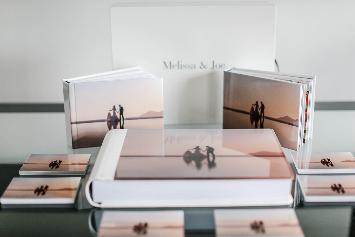 white leather storybook wedding album