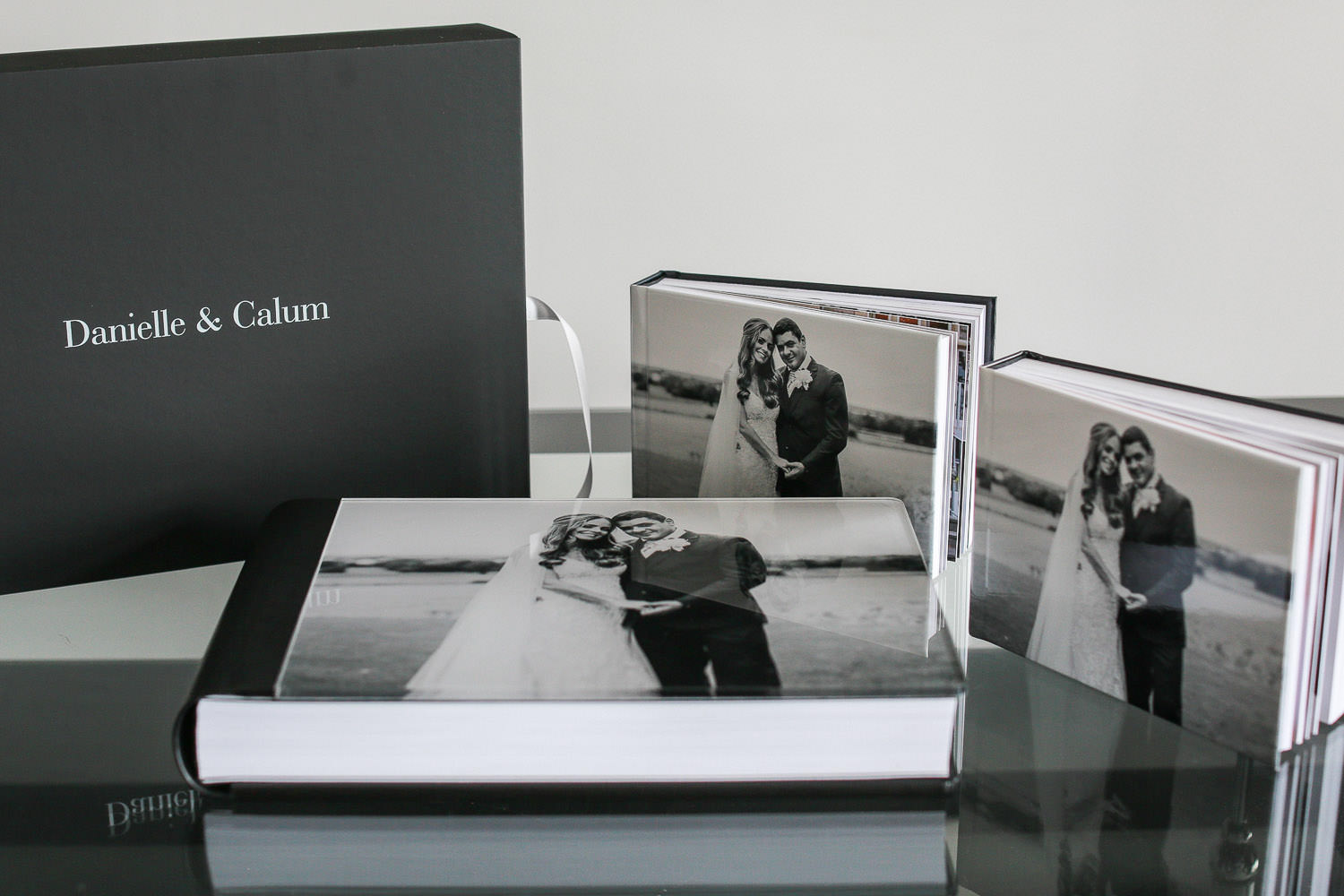 Black leather glass cover storybook wedding album