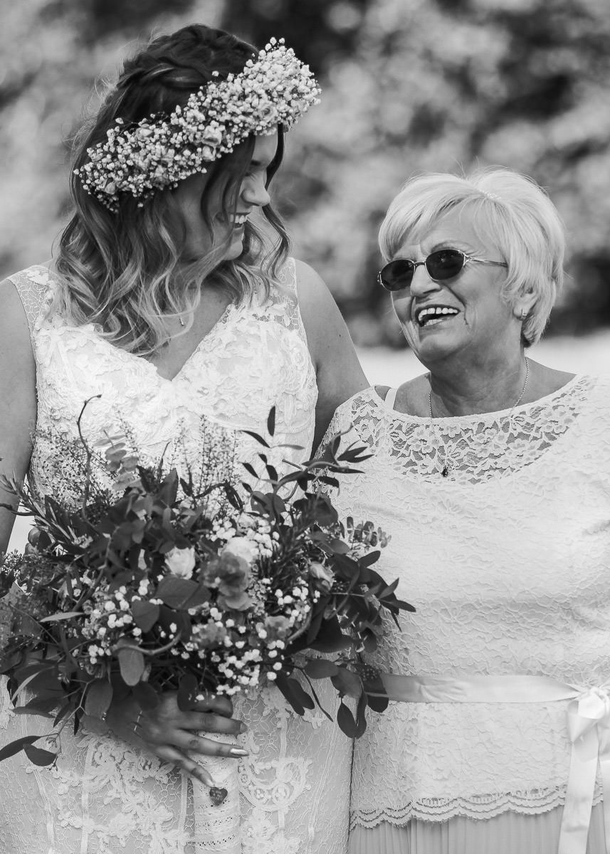 Bride and nan at wedding in Meols Hall Southport