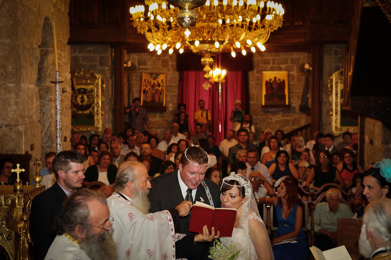 Greek Orthodox wedding ceremony showing crowns at Saint Lazarus Church Cyprus