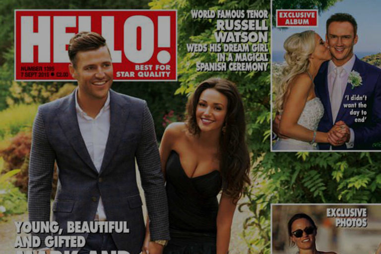 Celebrity wedding photographer Liverpool Manchester Hello front cover, Mark Write, Russell Watson Wes Simpson photographer