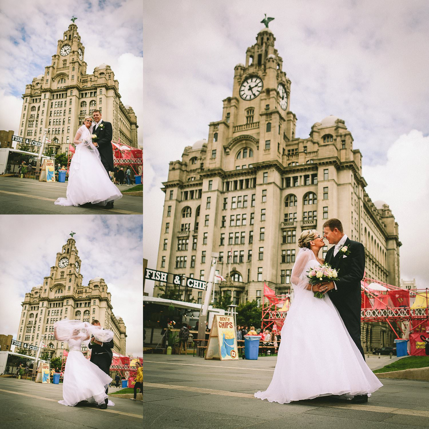 bride and groom Liverpool pair head on wedding day in front of Liver Building