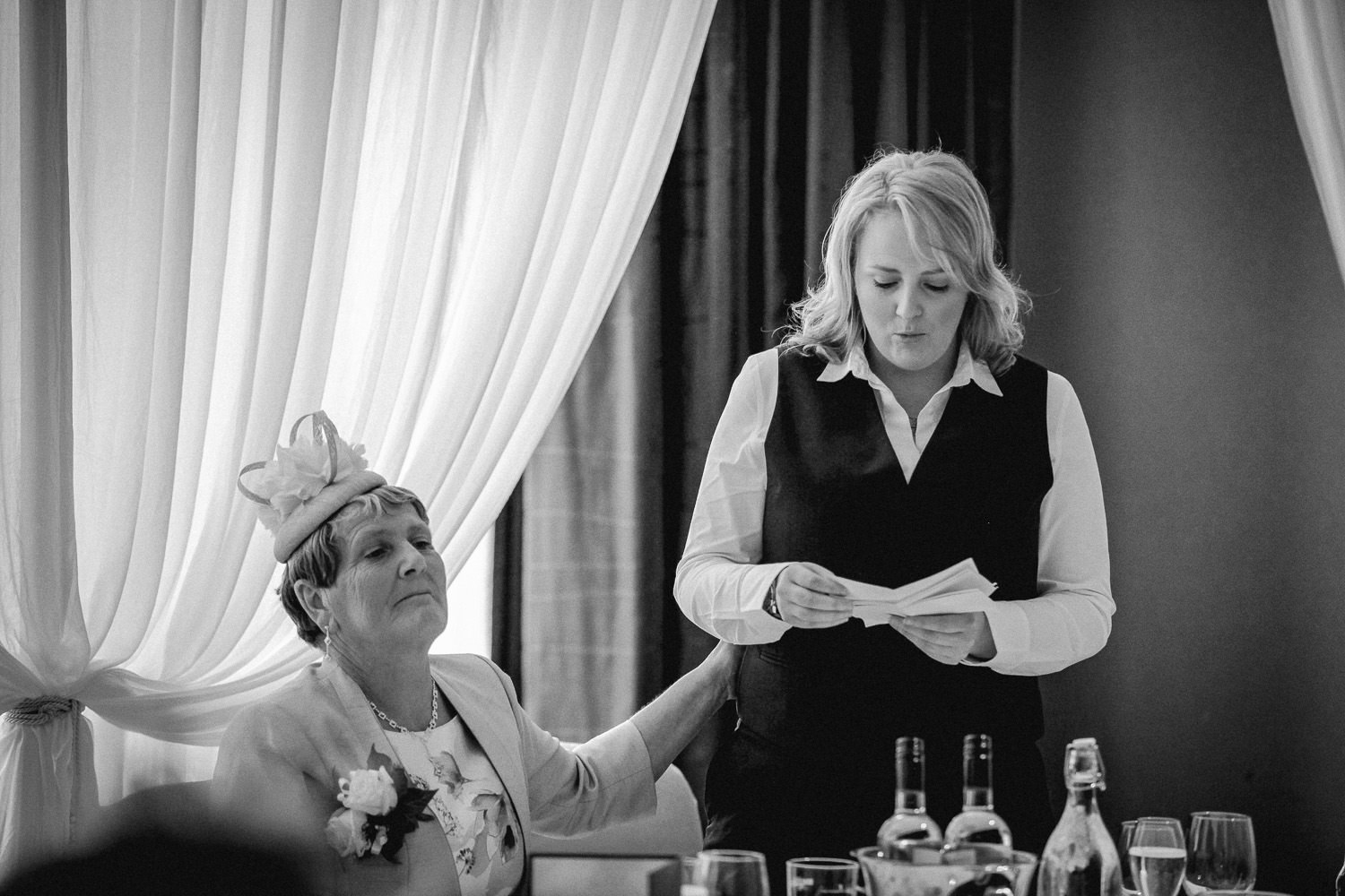 Hilton Liverpool wedding reception black and white photo of speeches