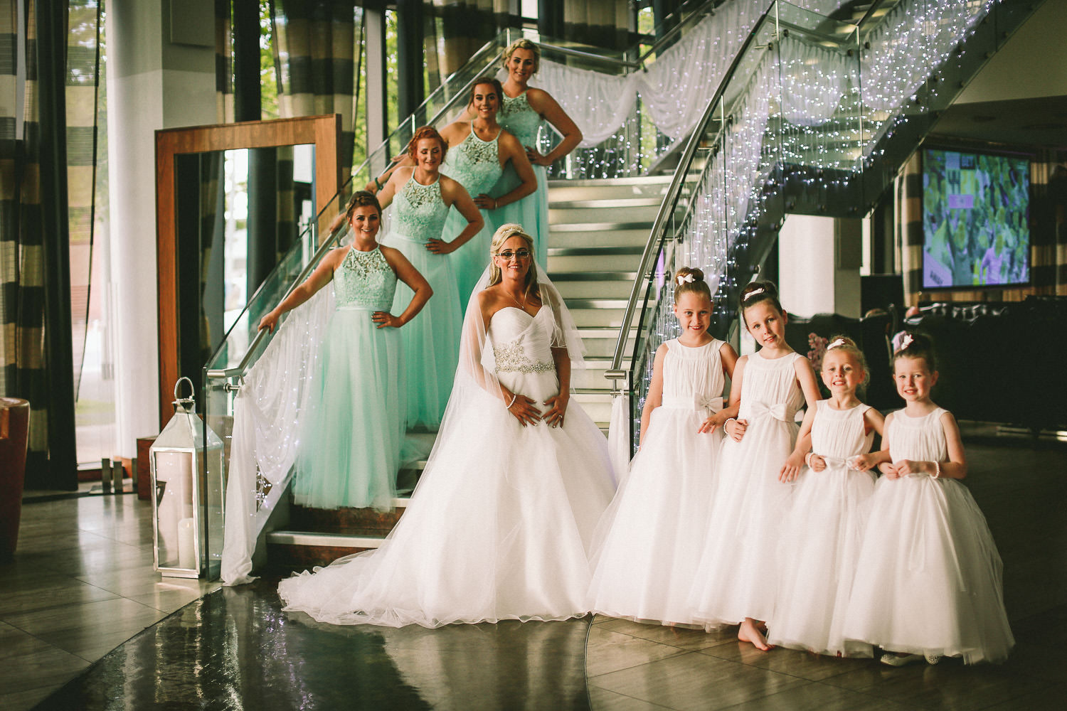 Bride and bridesmaids at steps Hilton Liverpool