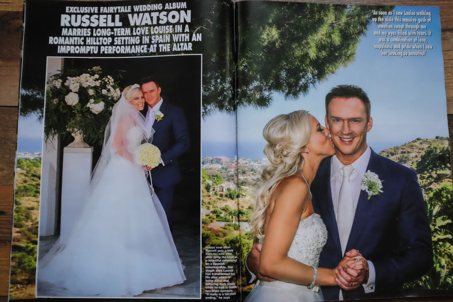 Hello magazine celebrity wedding photographer Wes Simpson Russell Watson wedding