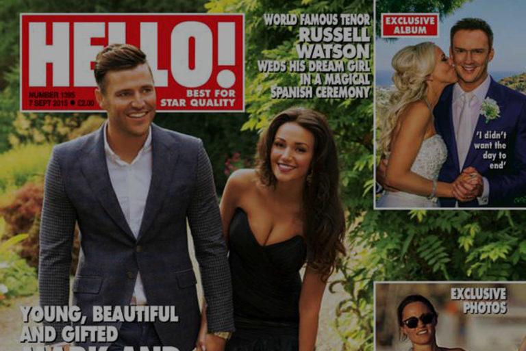 Hello magazine front cover Mark Write Russell Watson wedding