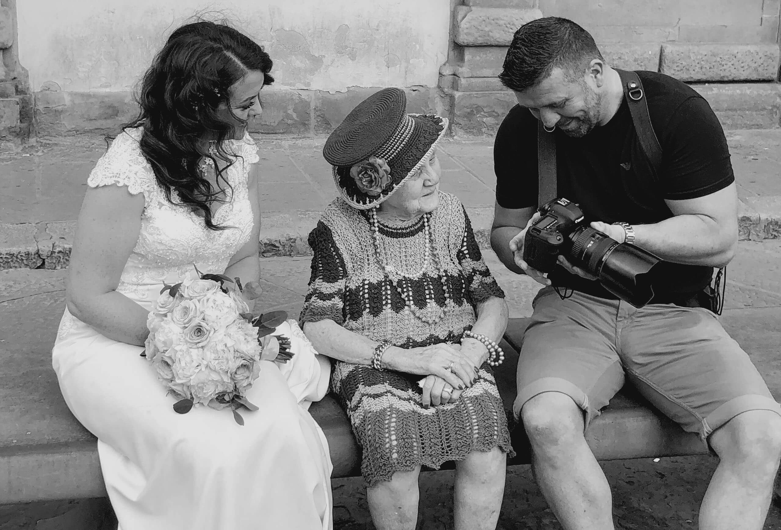 How I became a wedding photographer. Wes Simpson showing little old lady picture on back of camera