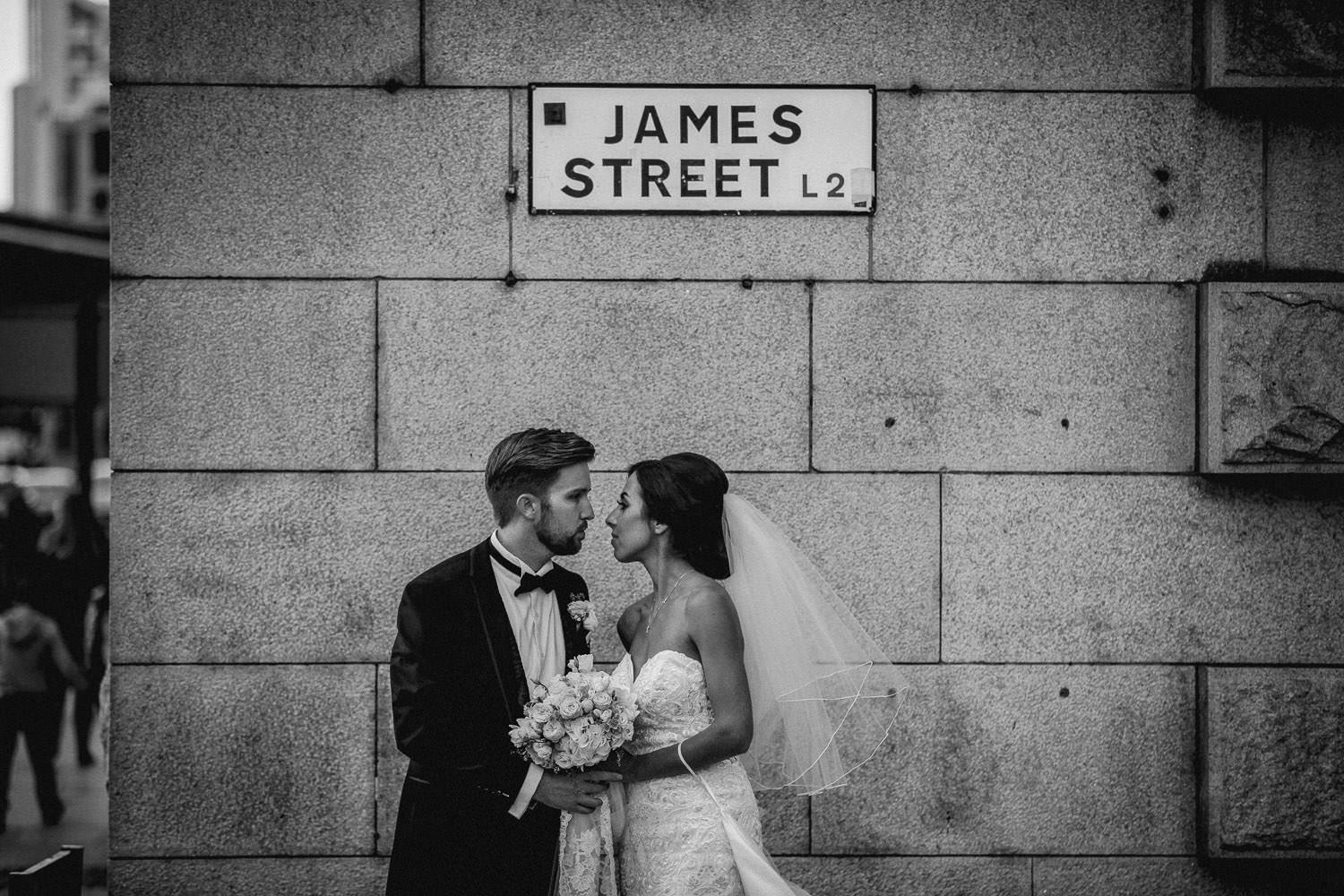 Liverpool wedding photographer, photo of bride and groom on James street Liverpool