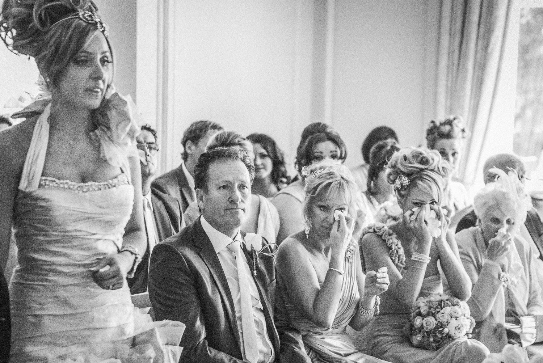 Mum, Nan, sister crying at wedding