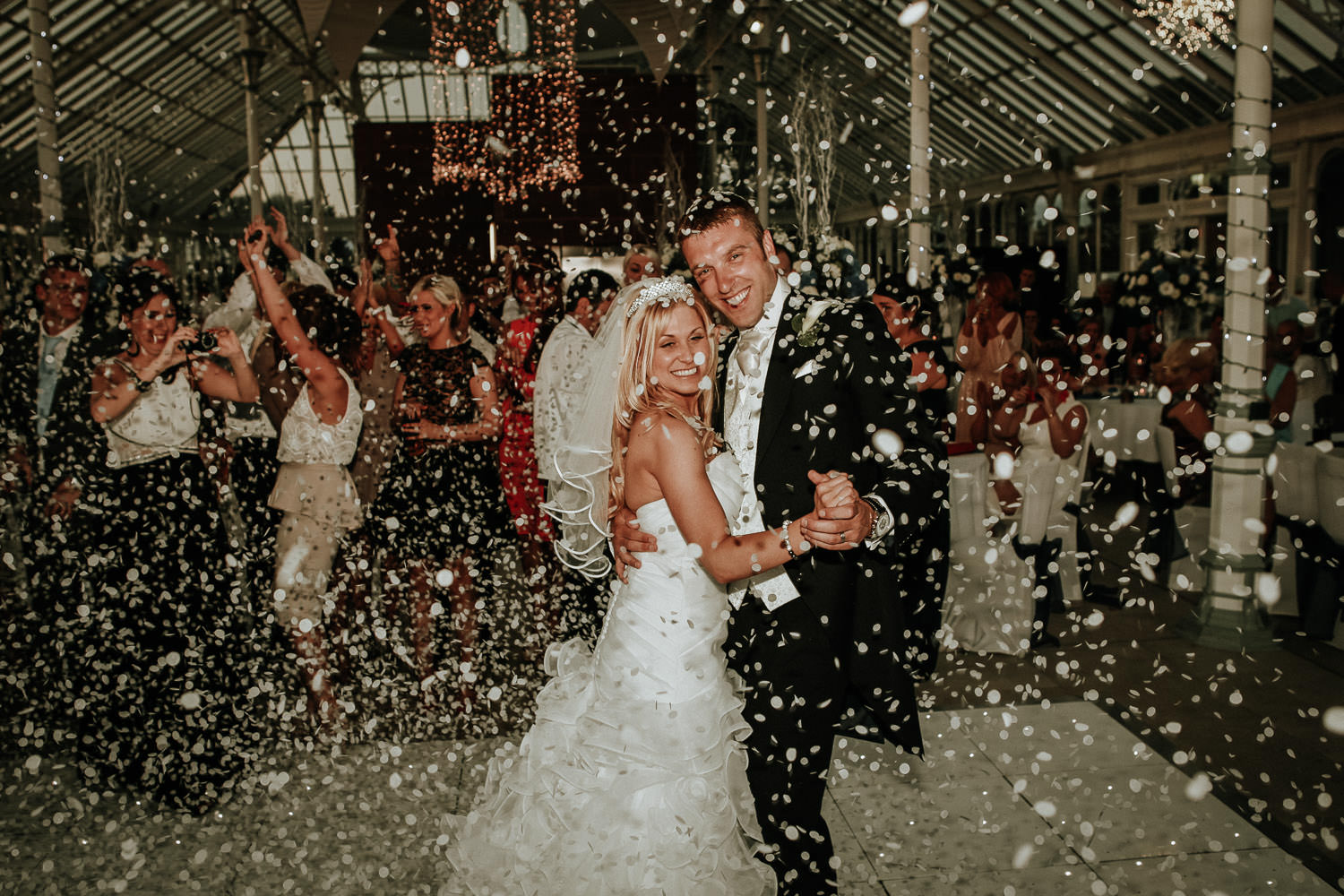 Liverpool wedding photographer. Liverpool and Southhampton footballer Rickie Lambert and wife showered in confetti on wedding day
