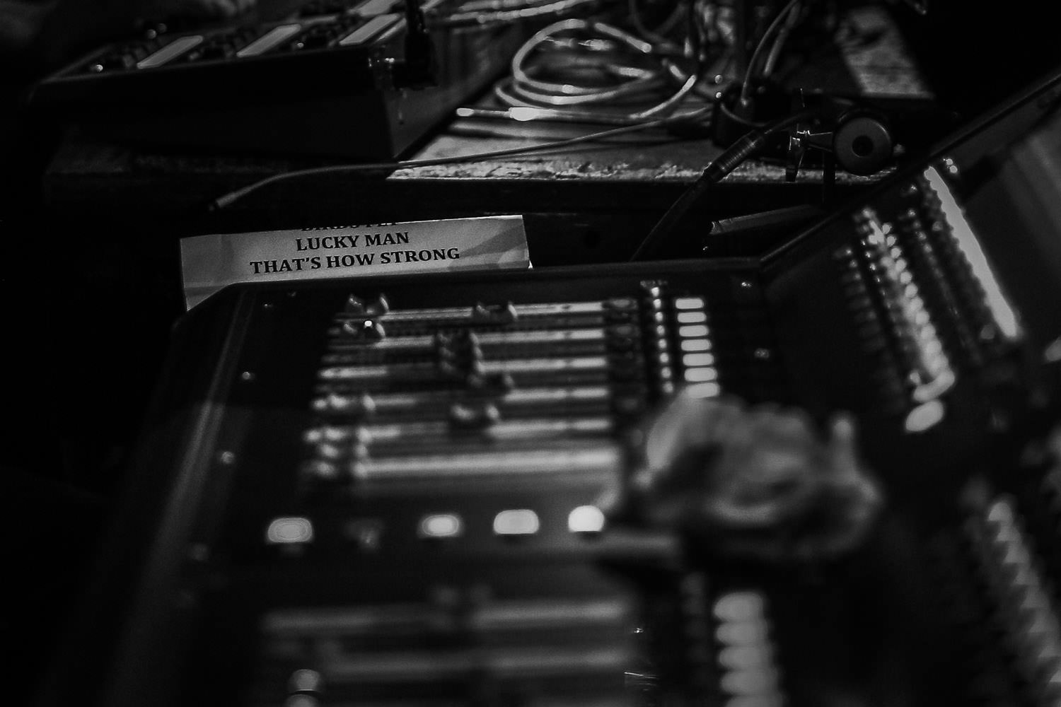 Lighting and sound mixing board with Lucky Man Natural Rebel set list from Richard Ashcroft concert in Manchester