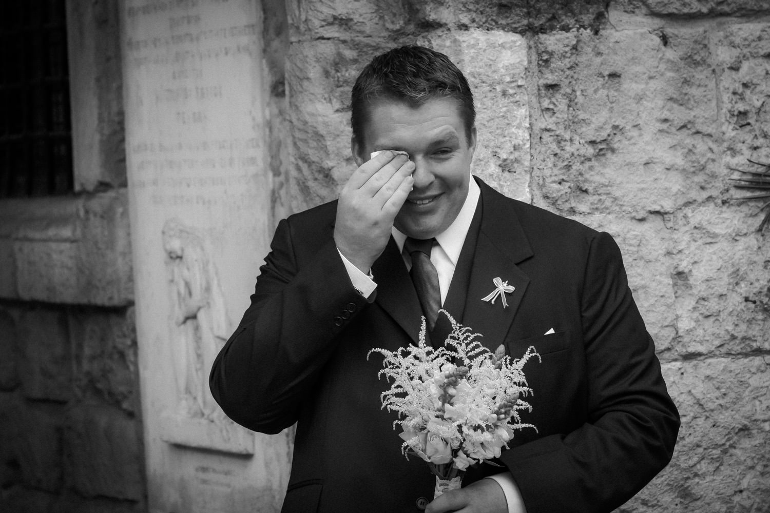 Emotional Groom Bride arriving Church Saint Lazarus Larnaca Cyprus