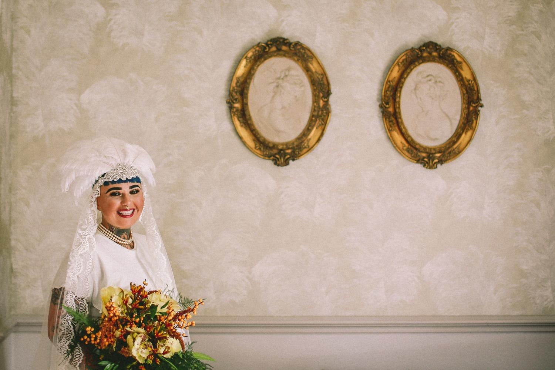 Alternative bride at Vintage wedding at Ashfield House