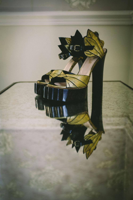 Vintage Viviane Westwood shoes on table at ashfield house wedding venue