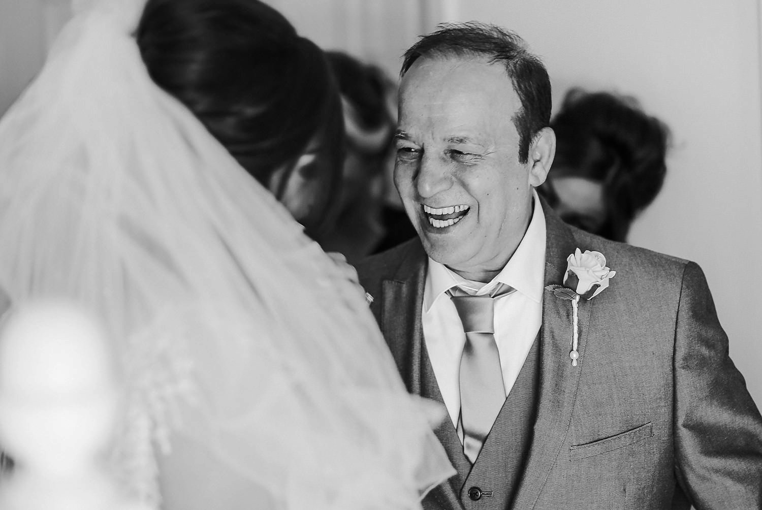 Happy father of bride Spring wedding at west tower bridal reveal