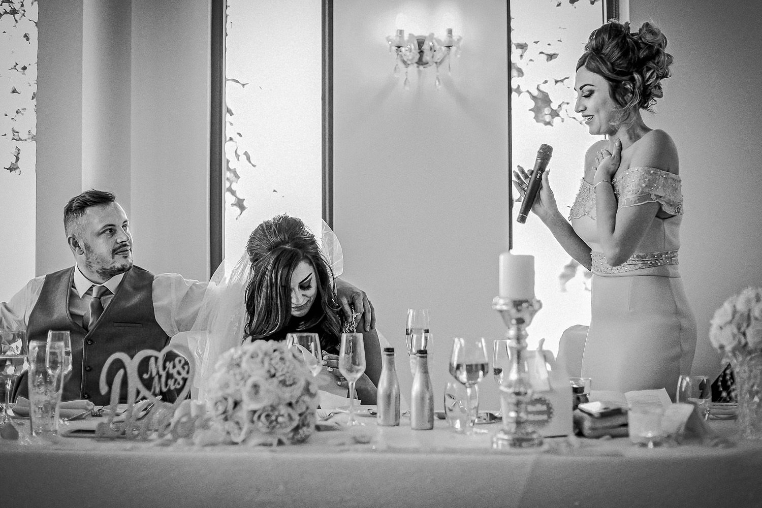Emotional bride and bridesmaid wedding speeches during spring wedding at west tower
