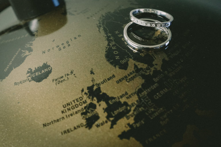Engagement rings on globe