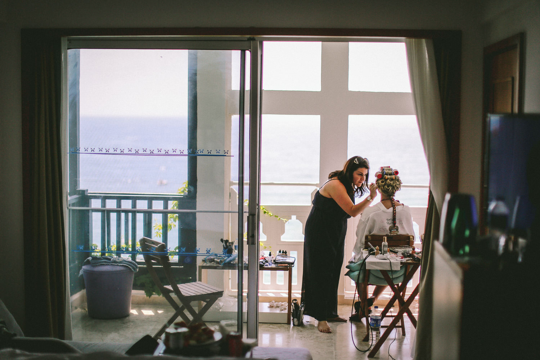 bridal preparations Flossy and Leigh make up wedding photography at Liberty Hotels Lykia