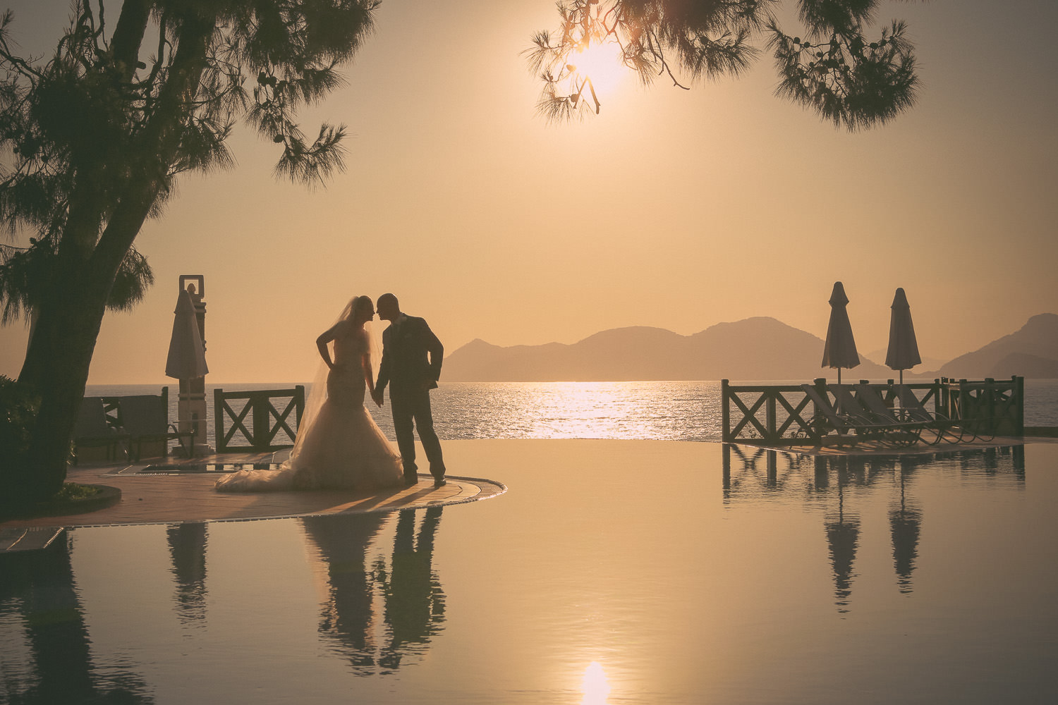 bride and groom silhouette wedding photography at Liberty Hotels Lykia