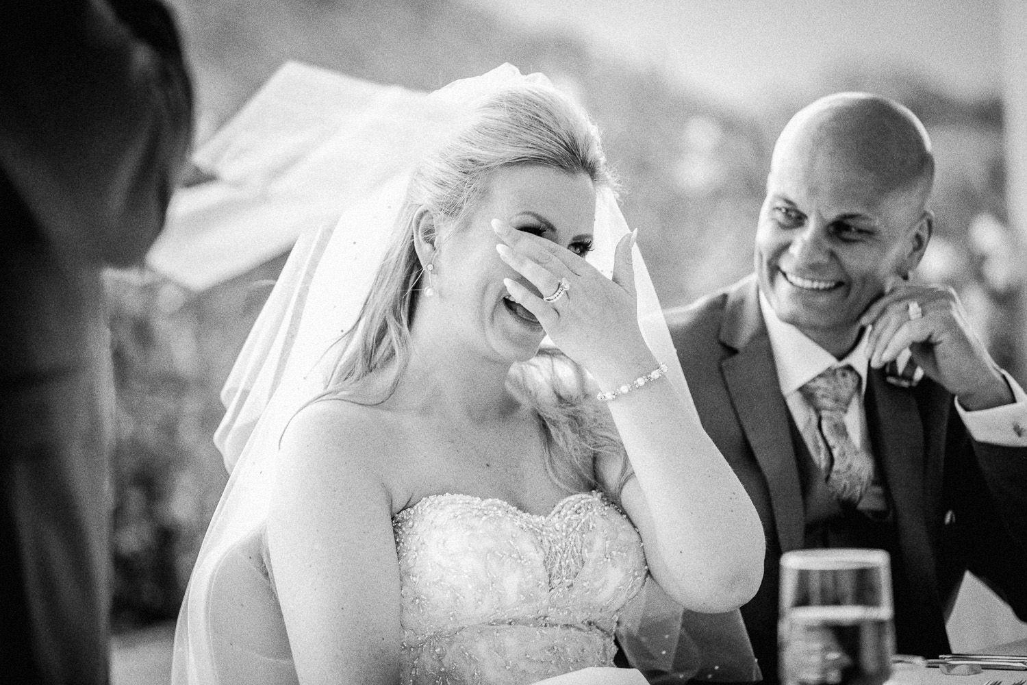 brides emotional reaction to wedding speech wedding photography at Liberty Hotels Lykia