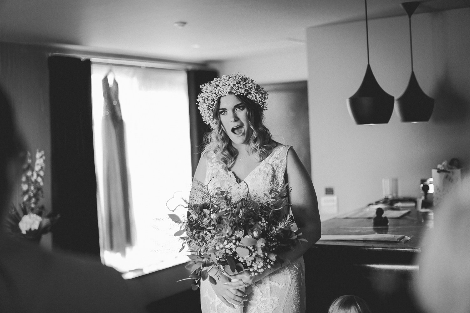 Shocked look on brides face Wedding reception Rustic wedding at Meols Hall Southport