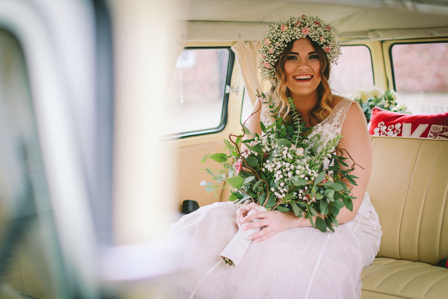 bride in VW camper van Wedding reception Rustic wedding at Meols Hall Southport