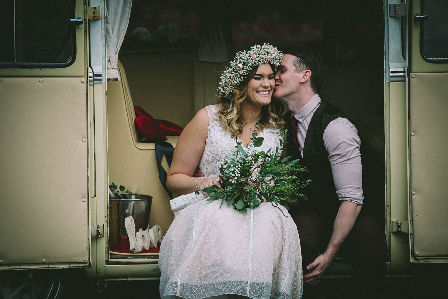 bride and groom in VW camper van Rustic wedding at Meols Hall Southport
