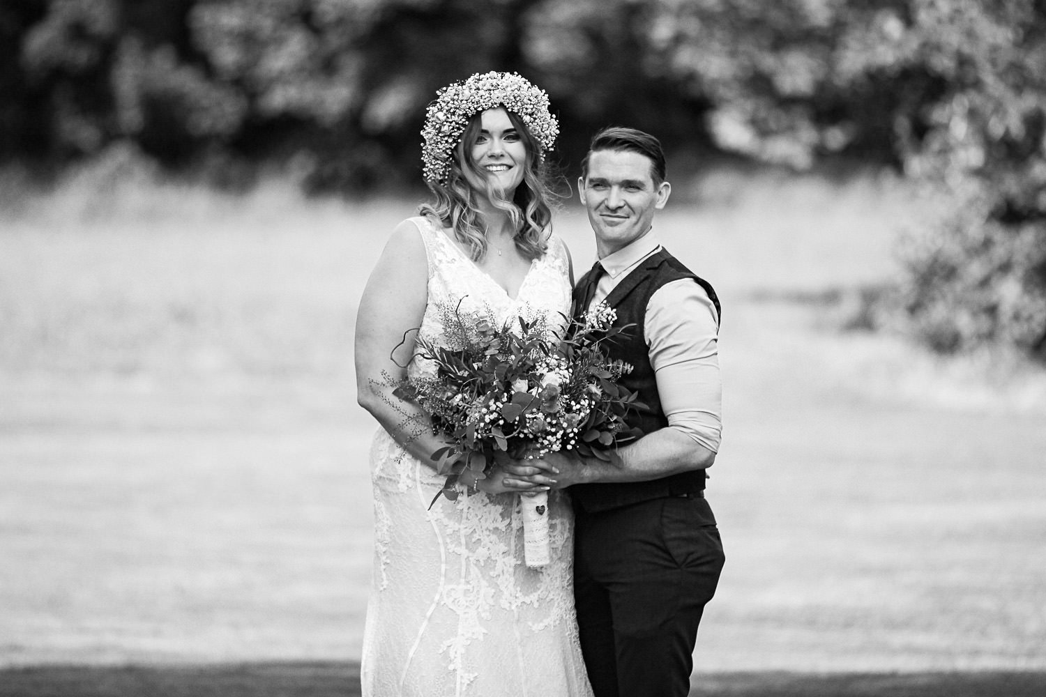 Black and white bride and groom portrait Rustic wedding at Meols Hall Southport